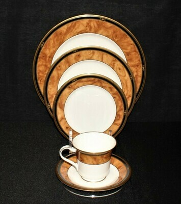 Noritake Cabot 5-Piece Place Setting, Dinner-Salad-Bread-Saucer-Cup Bone China