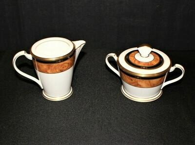 Noritake Cabot 9785 Creamer & Sugar Bowl w/ Lid (3 Piece Set) Bone China, Japan