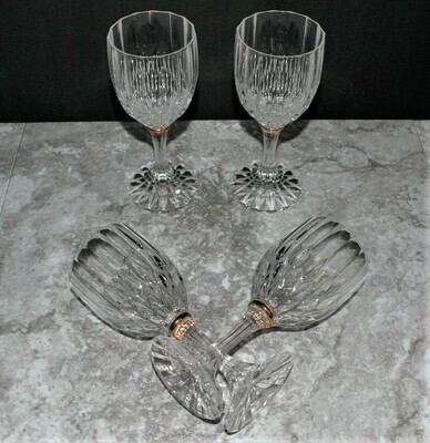 Set of 4 Cristal D'Arques Durand Bretagne Gold Ring Stem Glass Water Goblets