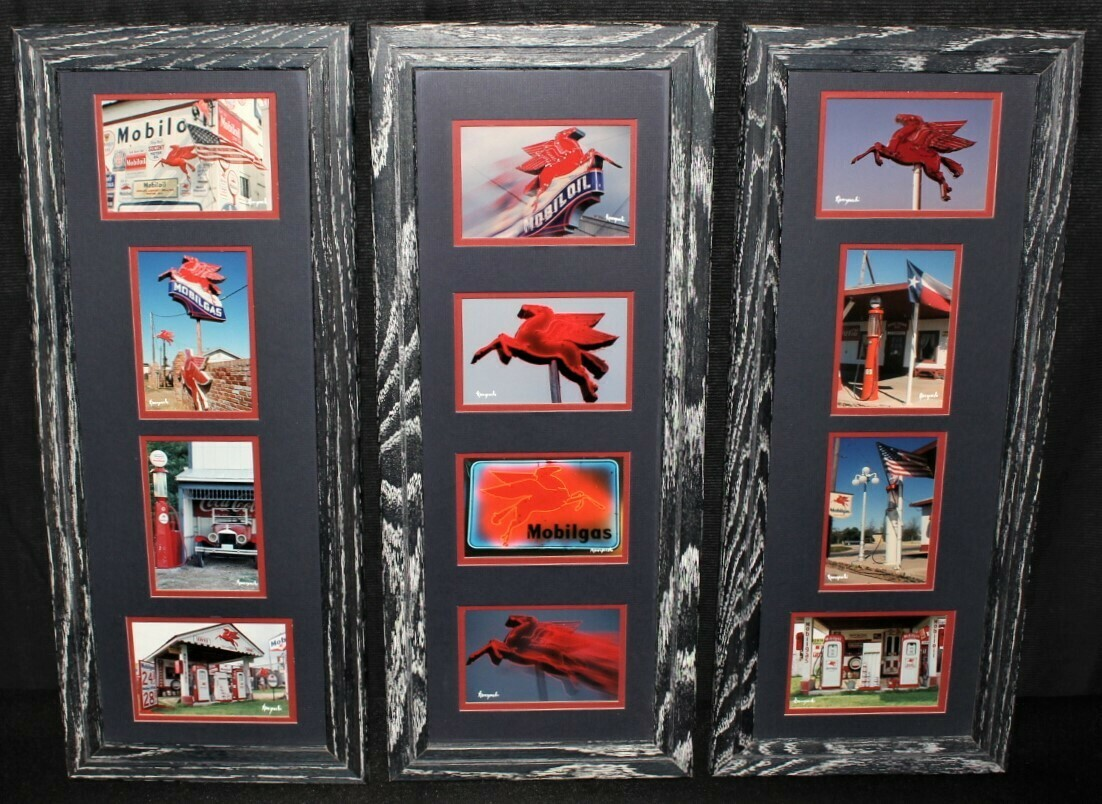 Korczynski Set of 3 Frames Vintage Mobil Gas Station Matted Photography Wall Art