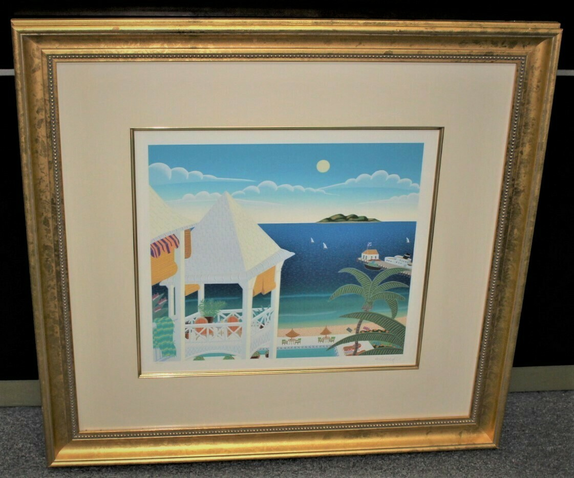"Thomas McKnight ""St. Kitts"" 34 x 32 Framed Hand Signed Serigraph 88/200"