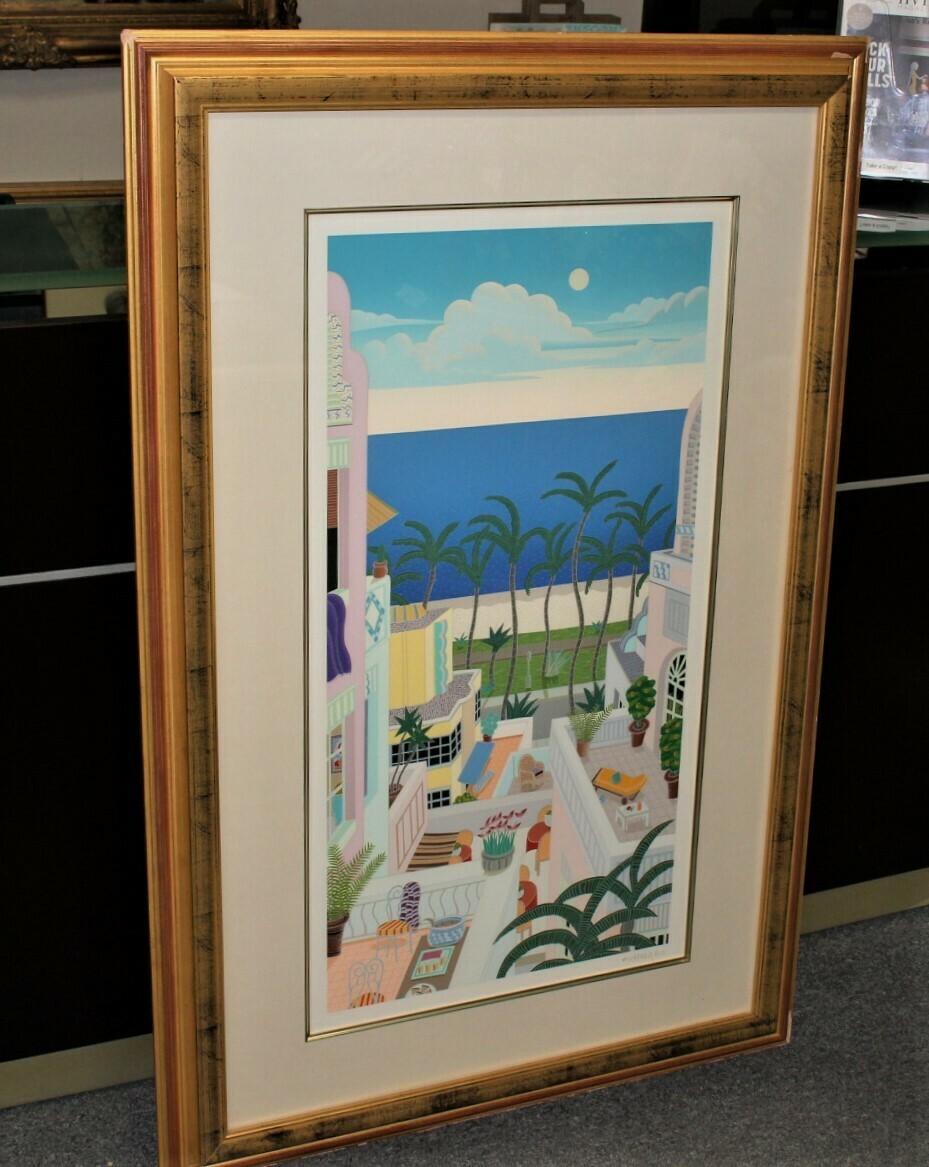 "Thomas McKnight ""Miami Beach"" 34 x 52 Framed Hand Signed Serigraph 166/200"