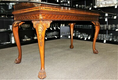 Mahogany Chippendale Carved Hairy Paw Feet Beveled Glass Top Dining Table