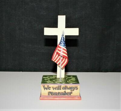 2010 Jim Shore We Will Always Remember Cross Patriotic Figurine #4021139