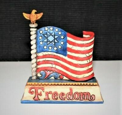 Jim Shore Miniature FREEDOM Patriotic Flag Figurine #4025849