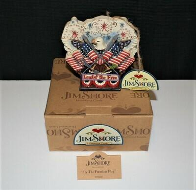 Jim Shore 2013 Land of the Free Flags & Eagle Figurine in Original Box #4037681