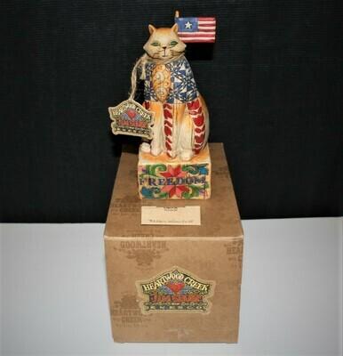 Jim Shore 2003 FREEDOM Patriotic Cat Figurine in Original Box #117047
