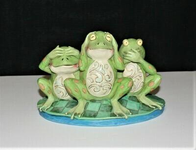 Jim Shore 2014 See No, Hear No, Croak No Evil Frogs on Lily Pad Figurine 4047051
