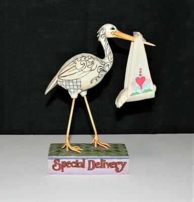 Jim Shore 2007 A Bundle of Joy Special Delivery Stork & Baby Figurine #4009211