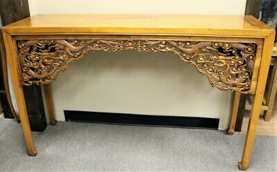 ​19th Century Chinese Carved Dragon Paneled Hoof Feet Altar Console Table