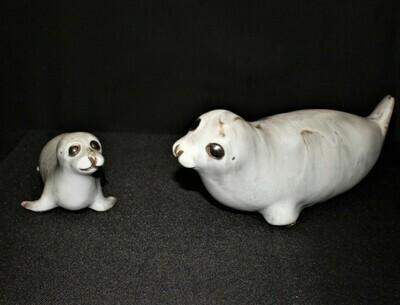 Andersen Design Mom & Baby Sea Lion Seals Art Studio Pottery Sculpture Figurines