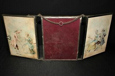 Rare Antique E.C. Depose 3-Panel Triptych Mirrors w/ Silk Scenes, Ca.1890, Spain