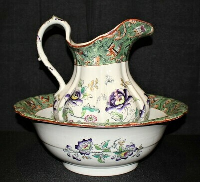 Antique Mason's Patent Ironstone Large Transferware Pitcher and Bowl Wash Set