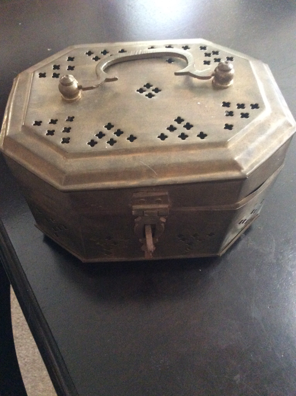 Brass box wishing Vessel cast written wishes unto all thy Djinns together