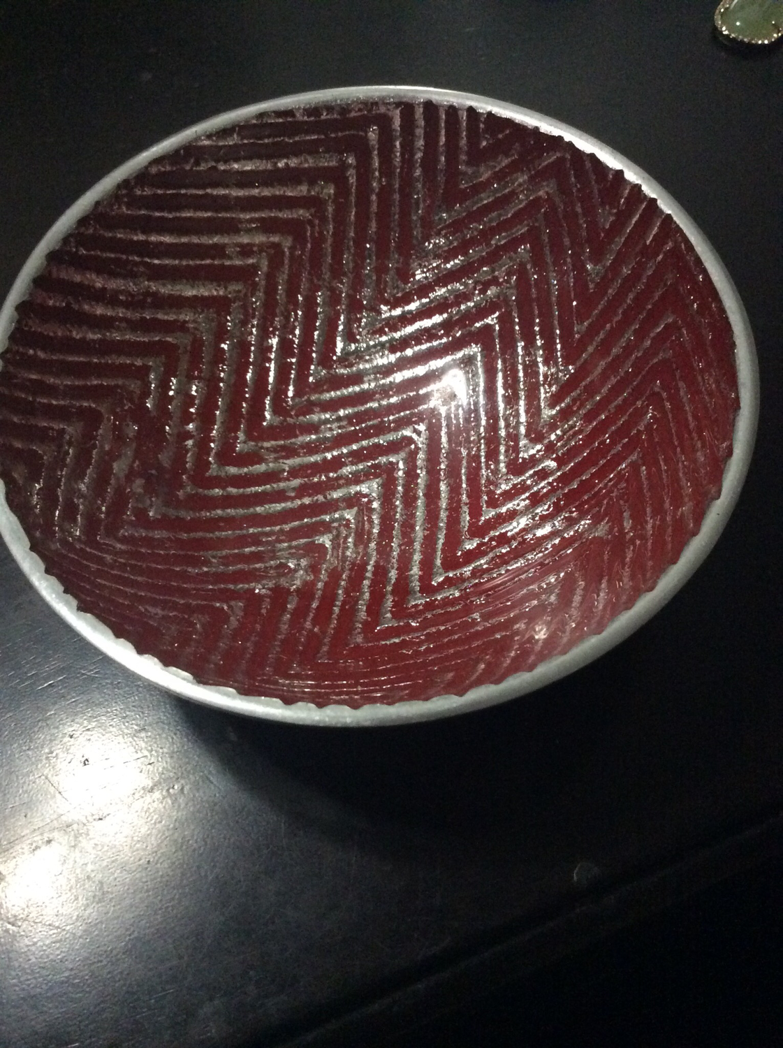 Small Aluminum bowl with red vibrant energy pattern energize atmosphere of thy Dwelling