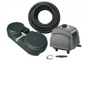 Matala EZ Air 12000 Plus PONDS UP TO 12,000 GALLONS. KIT CONTAINS: HK-100L AIRP PUMP 4.2 CU FT. AIR PER MINUTE:TWO 30' LENGTHS OF WEIGHTED AIR TUBING, 4 ROUND DIFFUSERS, 2-WAY VALVE, FITTINGS AND CLA