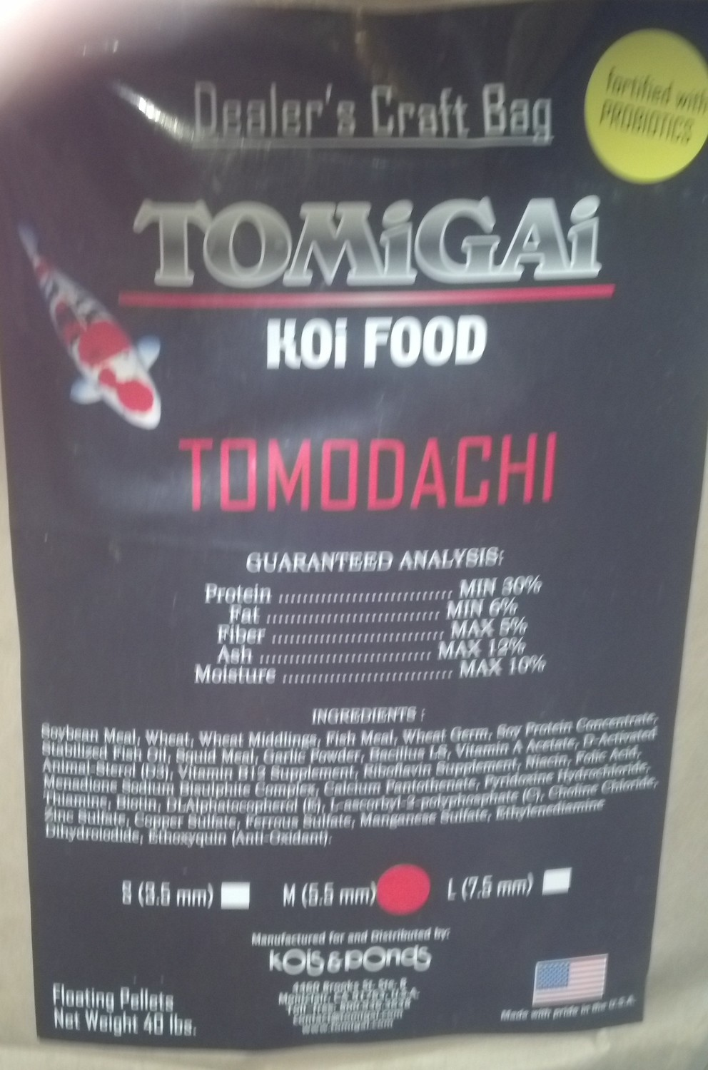 "Tomodachi 40 lb e Size Only Now!!  ""Medium-Large"" Pellet Only. One size fits all ko"