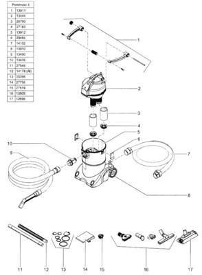 POND O VAC 3 Nozzle Set  includes multi (gravel) nozzle, string algae nozzle, brush nozzle, and wet vacuum brush