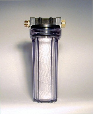 WATER PURIFYING FITS ON YOUR GARDEN HOSE  Basic Clear Garden Hose Filter, without cartridge. Includes mounting bracket and filter wrench (not shown) and comes with hose adapters installed. This housin