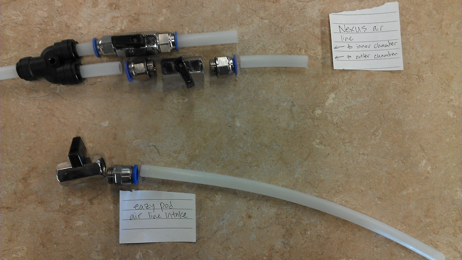 "[1] 3/8"" Mini Ball Valve [metal] with [2] End Connectors  Makes One Set  for Eazy Pod"