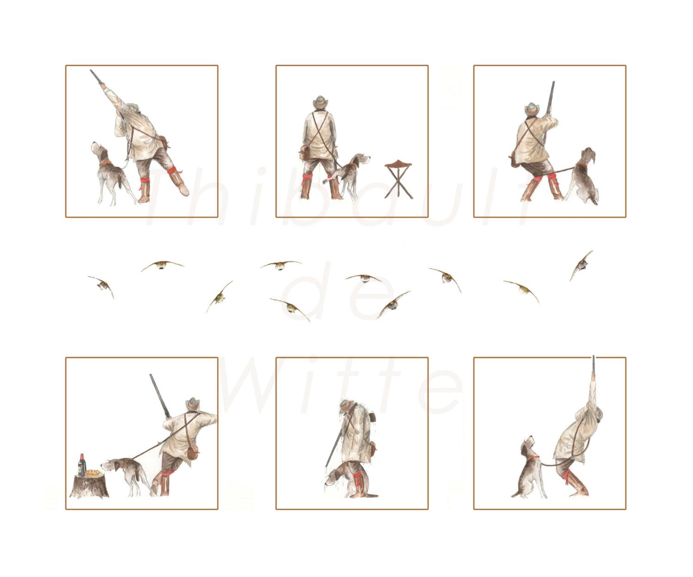 Postures Chasseur et Braque - Perdrix grises