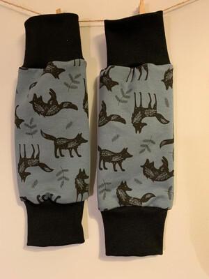 Blue Wolf Print Baby Leg Warmers - alternative cuffs available
