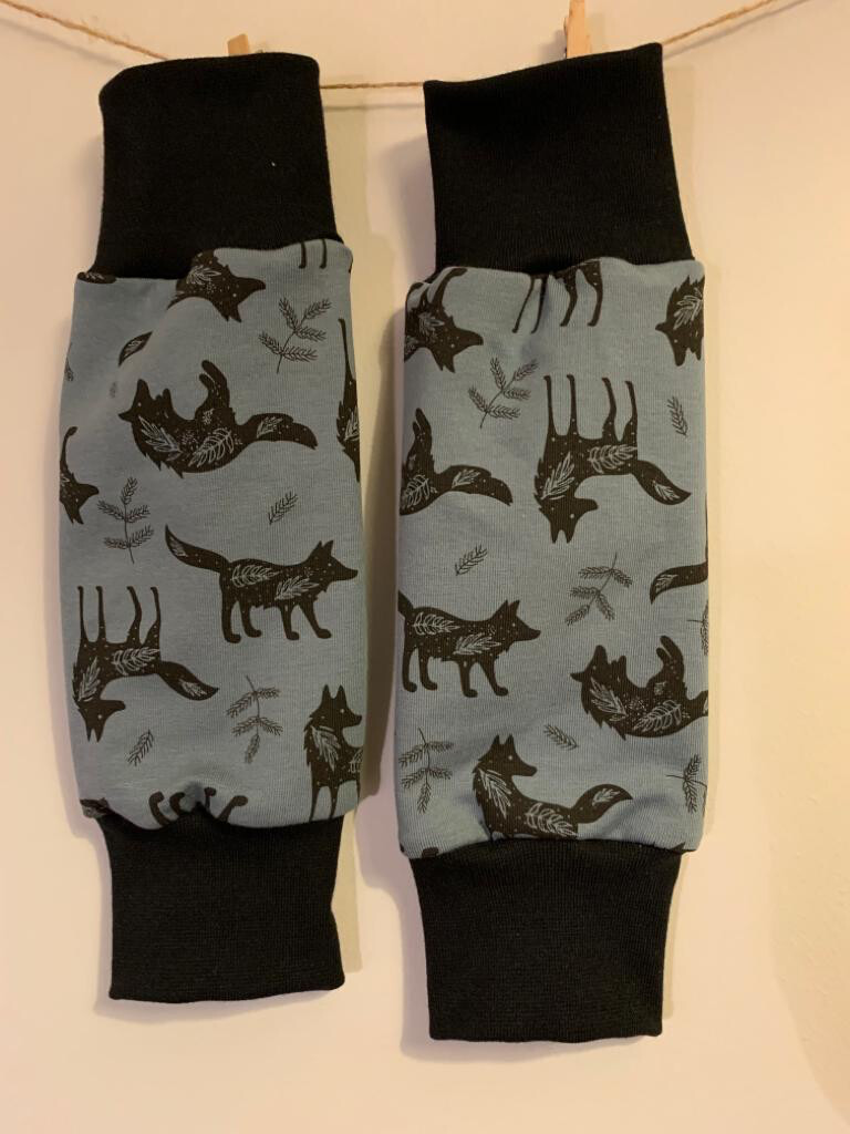 Blue Wolf Print Baby Leg Warmers - alternative cuffs available