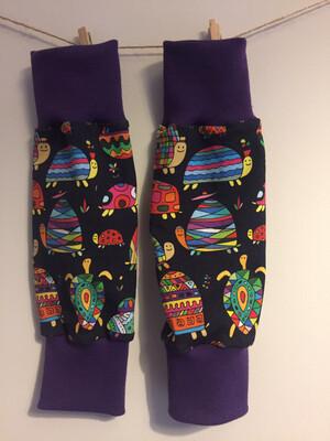 READY TO SHIP Black Tortoise Baby Leg Warmers - Purple Cuffs