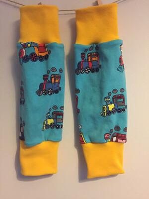Blue Train Baby Leg Warmers - alternative cuffs available