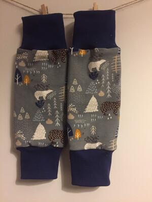 Grey Polar Bear Baby Leg Warmers - alternative cuffs available