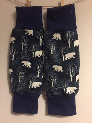 Midnight Blue Bears Baby Leg Warmers - alternative cuffs available