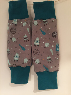 Grey Space Print Baby Leg Warmers - alternative cuffs available