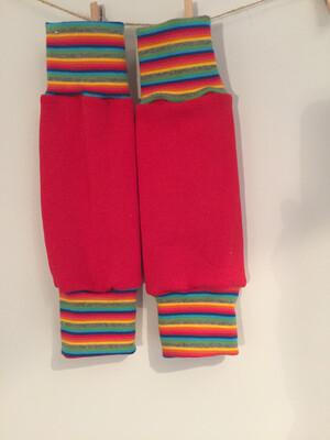 Red sweatshirt Baby Leg Warmers with a stripy cuff