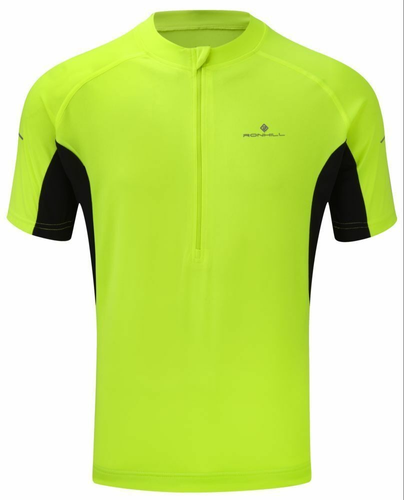 RONHILL BIKE SHORT SLEEVED ZIP TEE FLUO YELLOW MEDIUM NEW