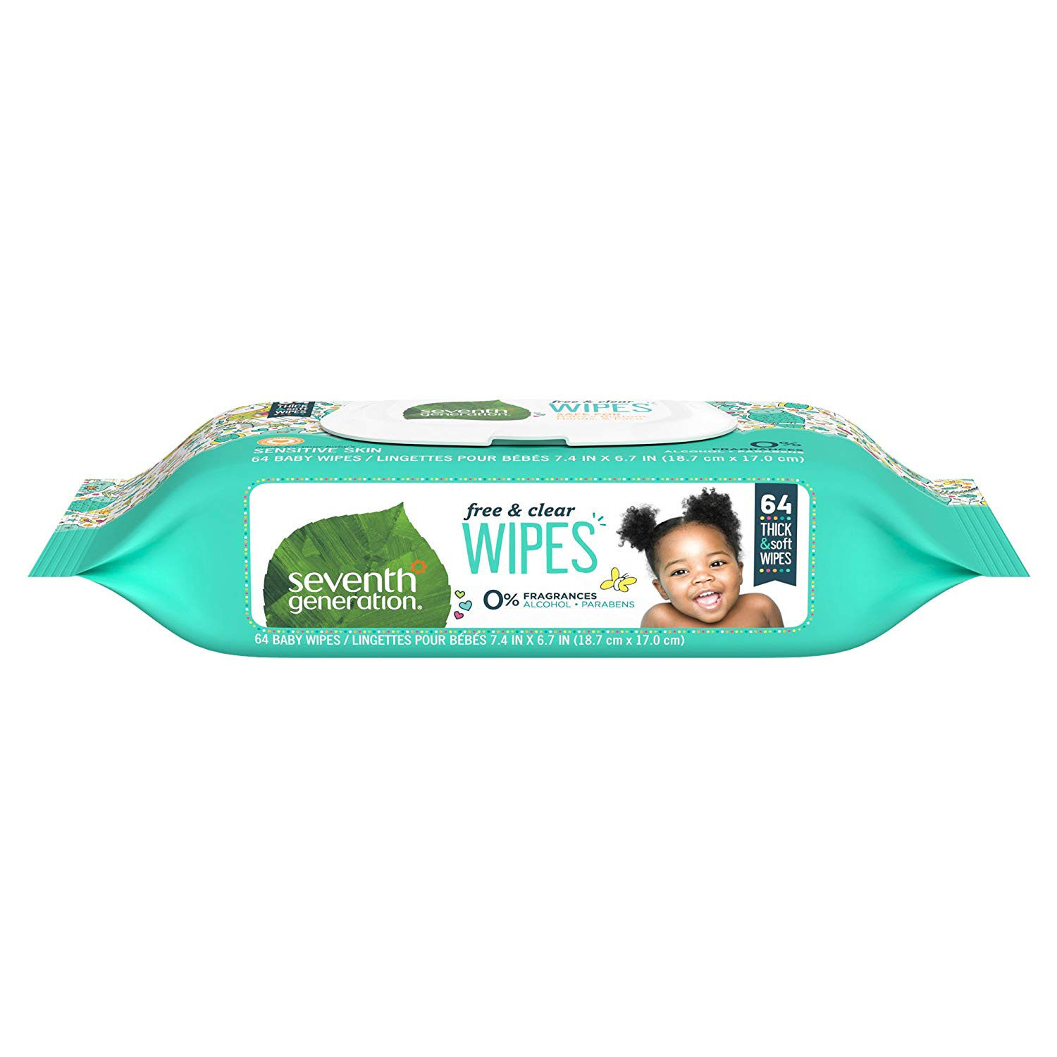pack Of 3 Seventh Generation Baby Free & Clear Wipes 64 Ct
