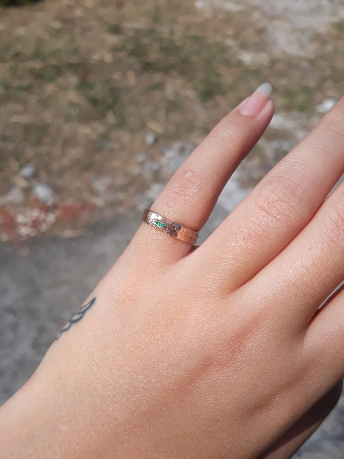FRACTURED OPAL RING GREEN 3.5
