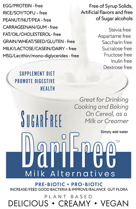 SugarFree DariFree Milk Alternative - 1KDFSF - ANTI-Viral -BOOST IMMUNE SYSTEM- Anti-inflammatory - Antioxidant AntiViral - 1Kg Resealable Bag (Makes 14-18 quarts)  Sugar-Free Dairy-free VEGAN