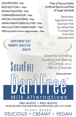 (CASE) DFSF - SugarFree DariFree Milk Alternative -  (24 pack) (4-6 cups ea.) - ANTI-Viral -BOOST IMMUNE SYSTEM- Anti-inflammatory - Antioxidant - Sugar-Free Dairy-free  Milk Alternative VEGAN