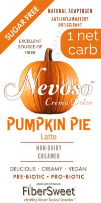 --- Pumpkin Pie ---     NEVOSO 1 Net Carb ANTI-Viral -BOOST IMMUNE SYSTEM-  Anti-inflammatory - Antioxidant - NON-Dairy Creamer - Sugar Free - DariFree - Smooth and Creamy VEGAN KETO