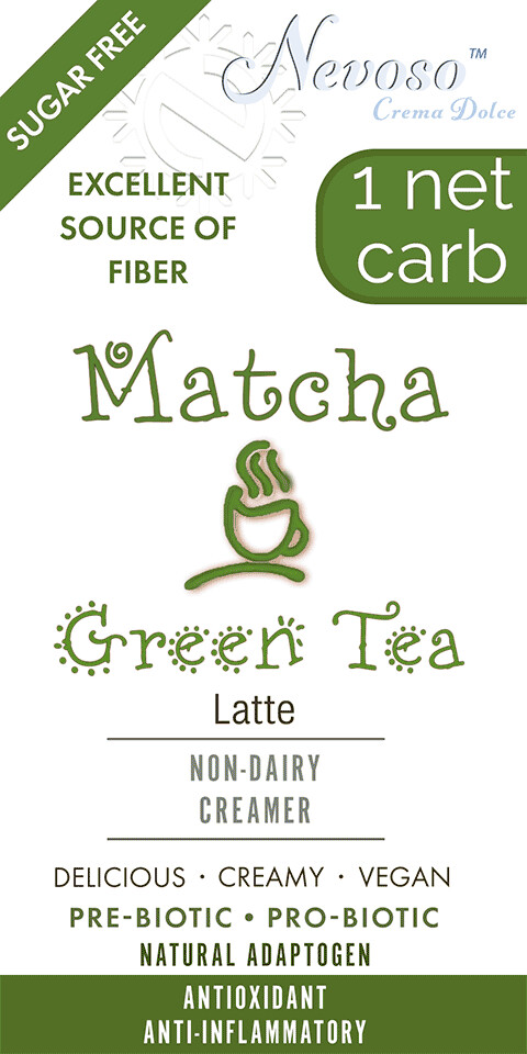 Matcha Green Tea Latte NEVOSO 1 Net Carb ANTI-Viral -BOOST IMMUNE SYSTEM-  Anti-inflammatory - Antioxidant - NON-Dairy Creamer - Sugar Free - DariFree - Smooth and Creamy VEGAN KETO