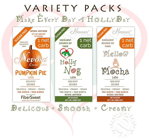 Variety Pack (4ea)   >Only 1 net carb<  Pumpkin Pie Latte  Mellow Mocha Latte    Holly Nog  Latte  Smooth and Creamy  Sugar - Free  DariFree