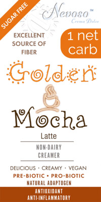 -- Golden Mocha --   1 Net Carb NEVOSO ANTI-Viral -BOOST IMMUNE SYSTEM-  Anti-inflammatory - Antioxidant - NON-Dairy Creamer - Sugar Free - DariFree - Smooth and Creamy VEGAN KETO