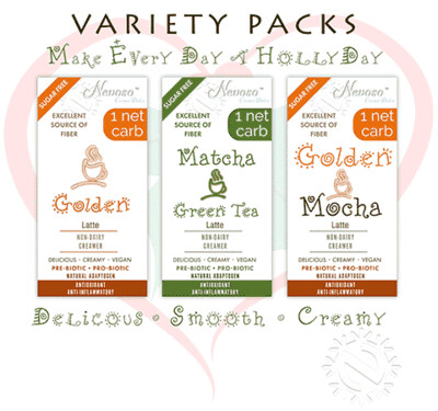 Variety Pack (4ea) - Golden Latte - Matcha Green Tea - Golden Mochca Latte   - Only 1 net carb - Sugar Free -  DariFree Latte