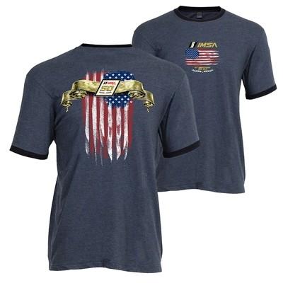 IMSA 50th Flag Ringer Tee - Denim/Navy