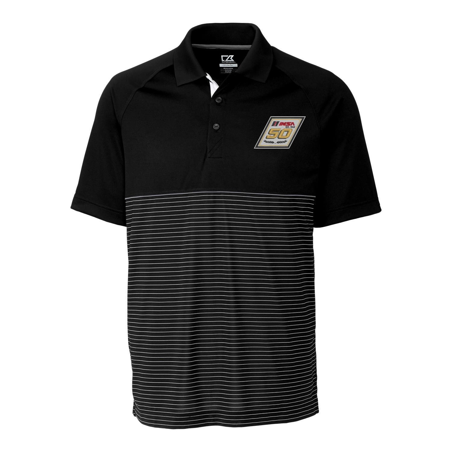 IMSA 50th Cutter & Buck Junction Stripe Polo - Black/Stripes
