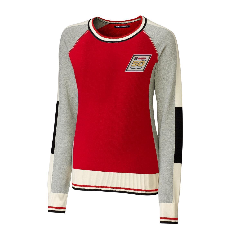 IMSA 50th Cutter & Buck Ladies Stride Colorblock Sweater-Red/Oxford/White