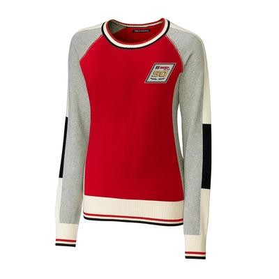 IMSA 50th Cutter & Buck Ladies Stride Colorblock Sweater-Red/Oxford/White