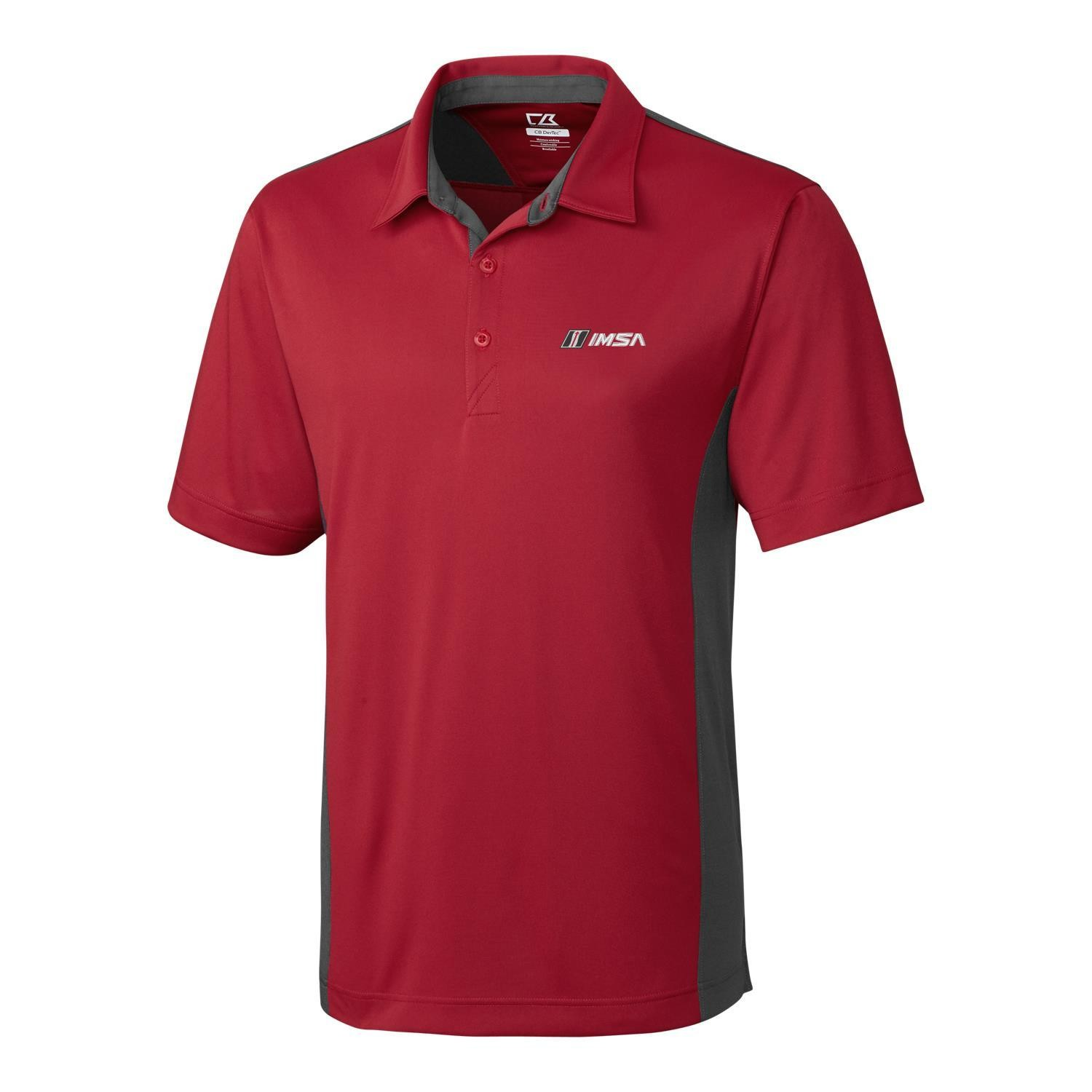 IMSA CB DryTec Willows Colorblock Polo Cardinal Red/Onyx