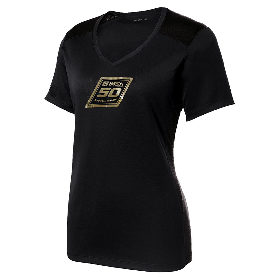IMSA 50th Liquid Gold Ladies V-neck Tee-Black