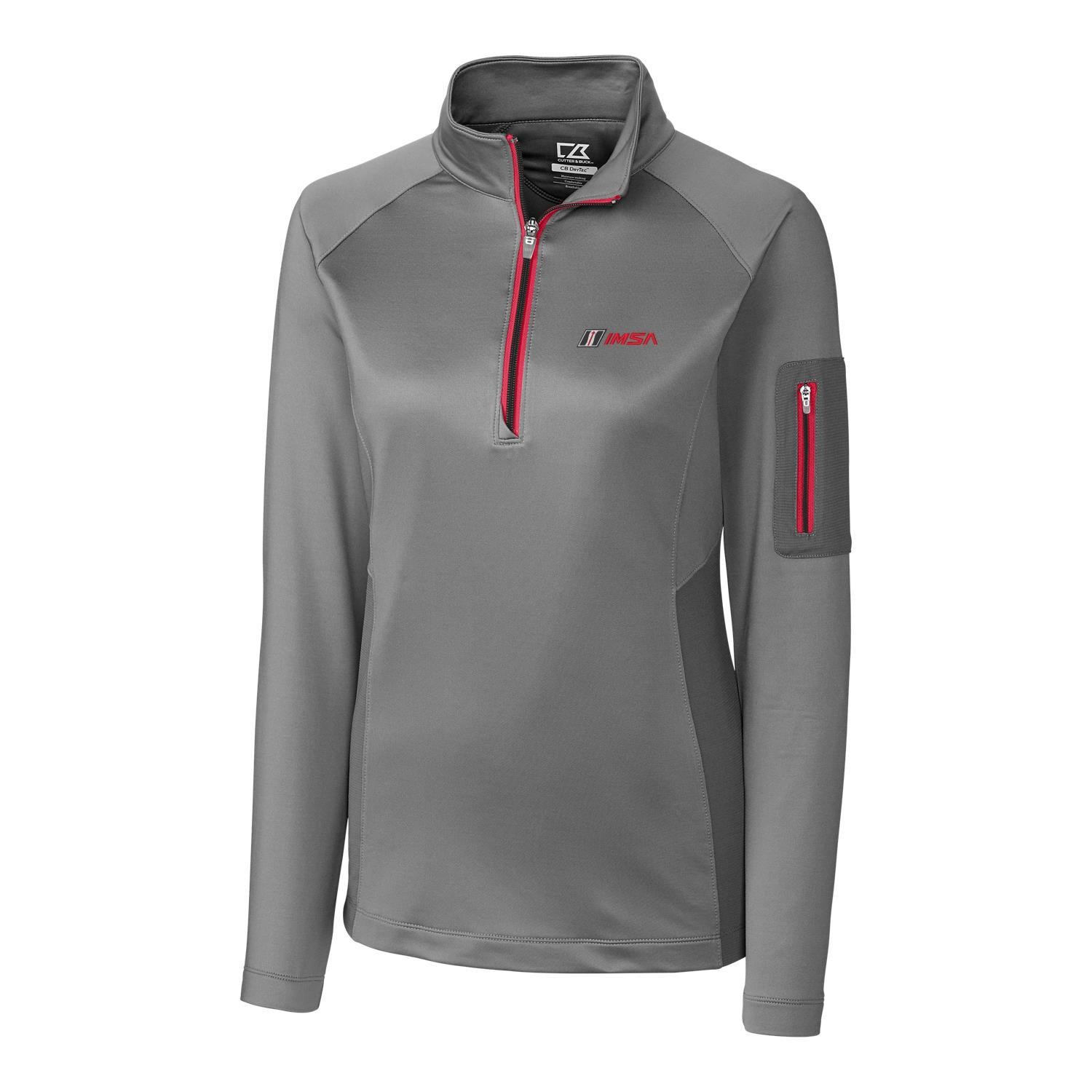 IMSA Ladies Shaw Half Zip Top - Platinum/Red